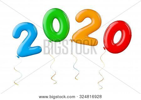 Multicolour Balloons As 2020 New Year Sign On A White Background. 3d Rendering