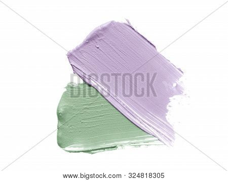 Color Corrector Strokes Isolated On White Background. Mint Green And Light Purple Colour Correcting