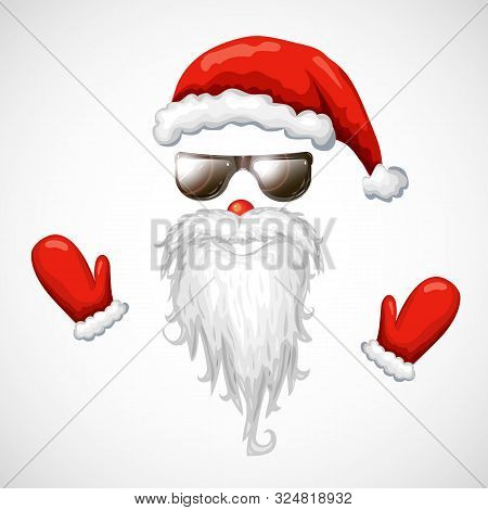 Cool Santa Claus Vector Illustration. Red Santa Hat, Sunglasses, Beard Isolated On White. Hipster Sa