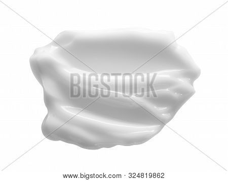 White Cosmetic Cream Smear Isolated On White Background. Face Creme, Body Lotion Texture. Beauty Ski