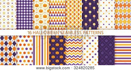 Seamless Pattern. Halloween Background. Vector. Haloween Texture With Pumpkin, Candy, Polka Dot, Sta