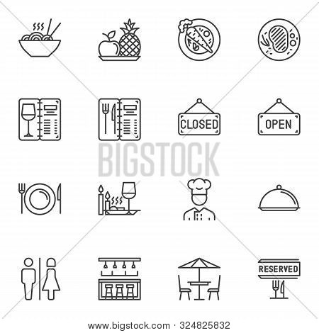 Restaurant Line Icons Set. Linear Style Symbols Collection, Outline Signs Pack. Vector Graphics. Set