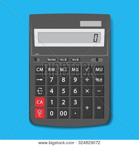 The Calculator Desktop With The Lcd Display. Vector Graphic Office Element Of Design In Flat Style.