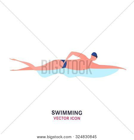 Vector Swimming Pool Icon. Editable Swimmer Illustration In Bright Colors Isolated On White Backgrou