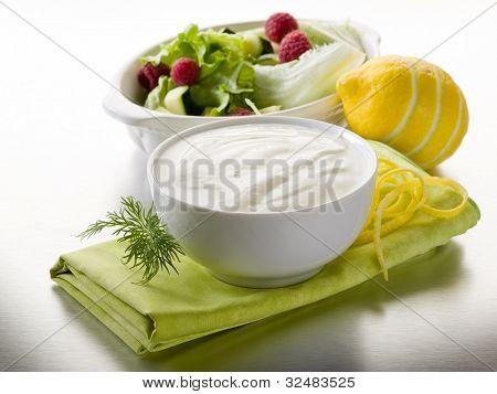 white yogurt dressing for salad, healthy food