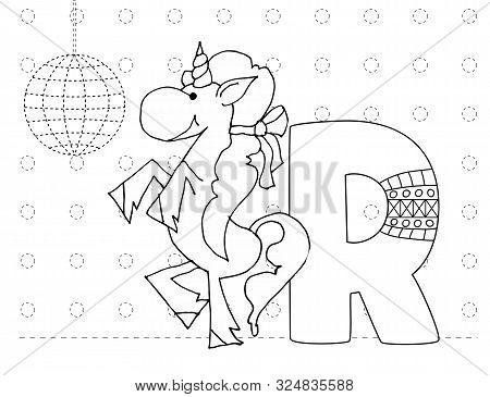 Letter R And Funny Cartoon Unicorn. Animals Alphabet A-z. Coloring Page. Printable Worksheet. Handwr