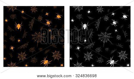 Vector Seamless Cobweb Pattern Collection. Line Art Of Spider Web And Spiders For Halloween. Scary S