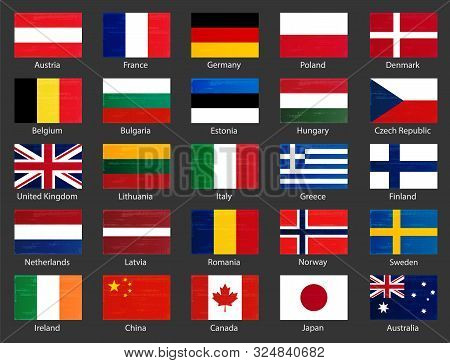 World Flags Collection With Names. National Official Colors Flags Of European Countries And Some Big