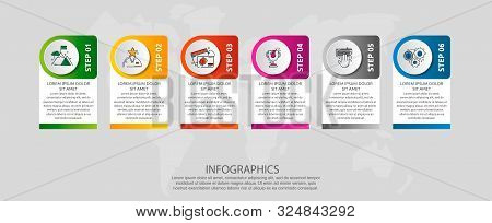 Vector Modern Infographic Flat Template Circle 3D Label For Six Diagrams, Graph, Presentation. Busin