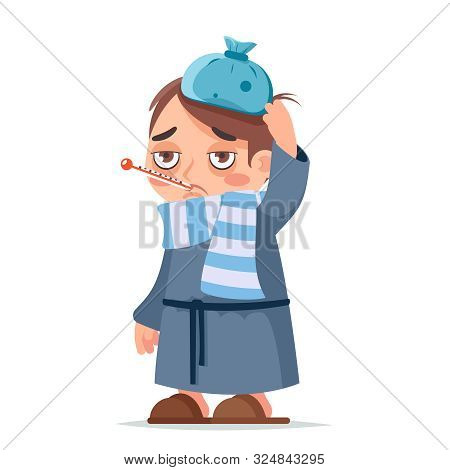 Isolated On White Sick Ill Boy Cold Virus Flu Disease Male Illness Medicine Man Infection Cartoon Ch