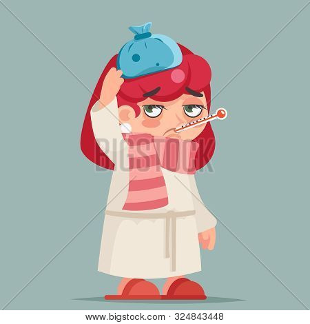 Sick Ill Girl Cold Virus Flu Disease Female Illness Medicine Woman Infection Cartoon Character Desig