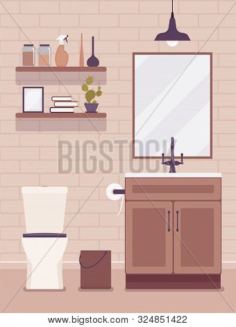 Restroom Modern Interior And Design. Room With A Washbowl For Washing Facilities, Toilet Bowl, Wc An