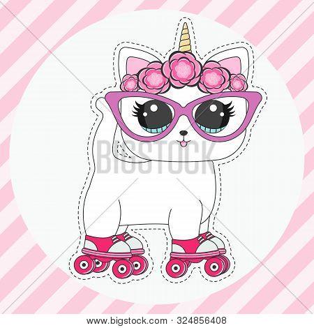 Happy Cartoon Cat Unicorn Doll With Big Eyes Rollerskates.
