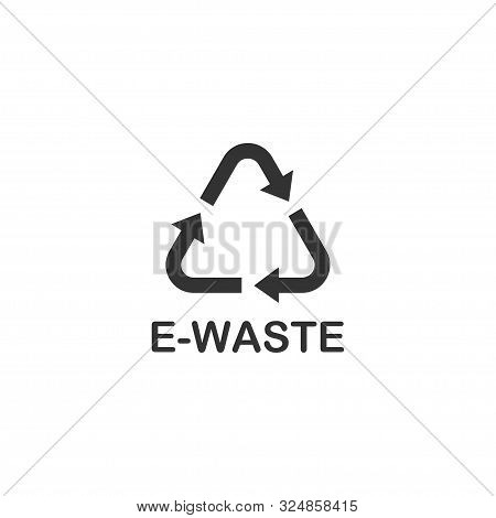 Recycle E-waste Black Vector Icon, Isolated On White Background. Recycle E-waste Icon. Recycle E-was