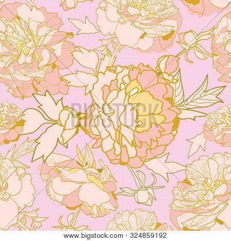 Vector Pink Romantic Elegant Festive Peony Botanical Pattern, Modern Peony Blossom In Pastel Tones.