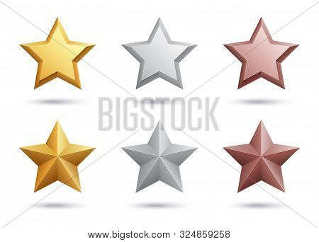 Realistic Stars. Gold Silver Bronze Stars Isolated On White Background. 3d Vector Metal Elements. Il