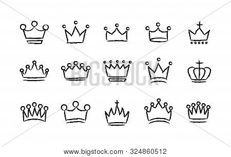 Big Collection Quolity Crowns. Royal Crown Icons Collection Set. Vintage Crown. Hand Drawn Sketch Cr