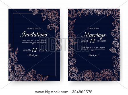 Wedding Invitation. Floral Wedding Cards With Rose Frame In Victorian Engraving Style. Vintage Vecto