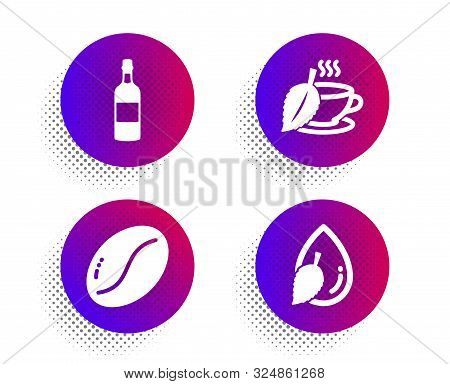 Coffee Beans, Mint Tea And Brandy Bottle Icons Simple Set. Halftone Dots Button. Water Drop Sign. Ve