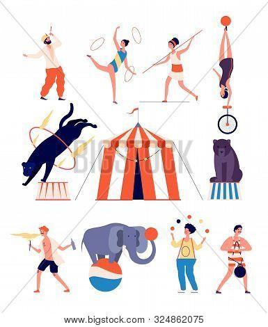 Circus Actors. Clown And Magician, Juggler And Balancer, Strongman And Gymnast, Panther And Bear. Ci