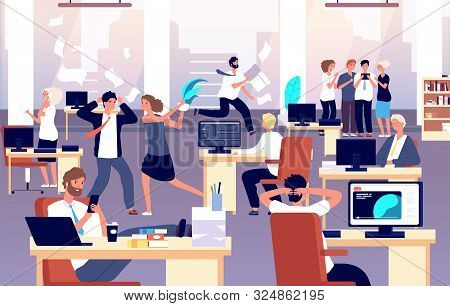 Chaos In Workplace. Sleepy Lazy, Unorganized Employees In Office. Bad Organization Control, Business