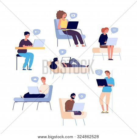 People Surfing Internet. Persons Spend Time Online With Laptop, Computer And Check Email And Social