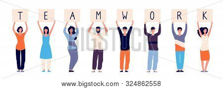 Teamwork Concept. Happy Employees Group Standing With Teamwork Message. Colleagues Relationship And