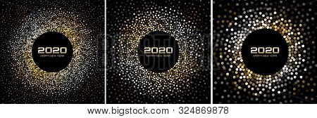 New Year 2020 Night Background Party Set. Greeting Cards. Gold Glitter Paper Confetti. Glistening Si
