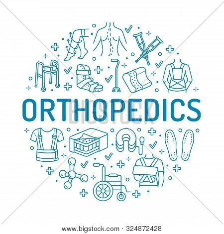 Orthopedic, Trauma Rehabilitation Circle Poster With Vector Line Icons. Crutches, Mattress Pillow, W