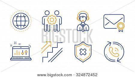 Stairs, Employees Teamwork And Verified Mail Line Icons Set. Shipping Support, Sound Check And Rejec