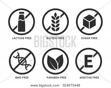 Set Of Icons Gluten Free, Lactose Free, Gmo Free, Paraben Free, Food Additive, Sugar Free. Vector Il