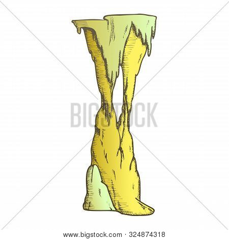 Stalactite Decorative Tunnel Element Color Vector. Standing Stalactite And Stalagmite. Natural Attra