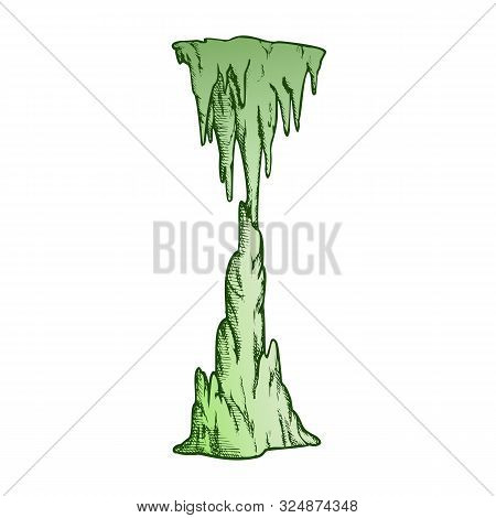 Icicle Stalactite Frozen Waterfall Color Vector. Arctic Subfreezing Climate, Beautiful Vertical Icy