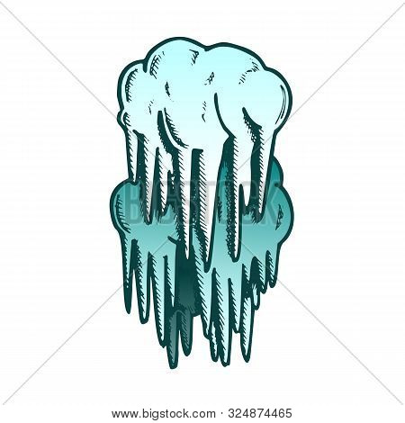 Stalactite Cave Decoration Element Color Vector. Mystery Vertical Crystal Stalactite And Stalagmite.