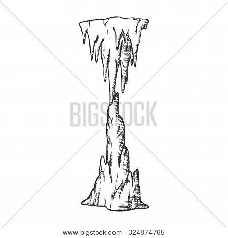 Icicle Stalactite Frozen Waterfall Ink Vector. Arctic Subfreezing Climate, Beautiful Vertical Icy Cr