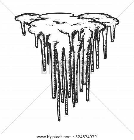 Stalactite Decorative Shape Monochrome Vector. Vertical Icy Crystal Stalactite And Stalagmite. Under