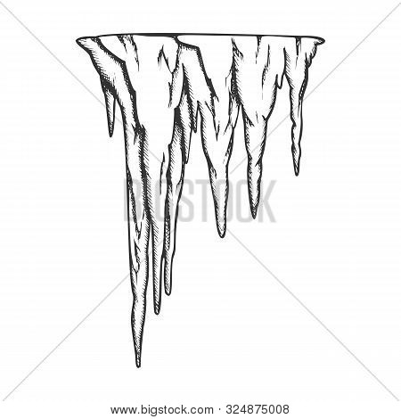 Stalactite Ancient Cave Element Vintage Vector. Decorative Underground Speleotherm Stalactite. Natur