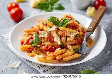 Traditional Pasta Putanesca With Tomato Sauce (capers, Onions, Garlic, Anchovies). Tasty Italian Foo