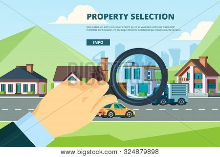 Rent House. Searching New Modern Townhouse Residential Sale Mortage Property Company Vector Concept.