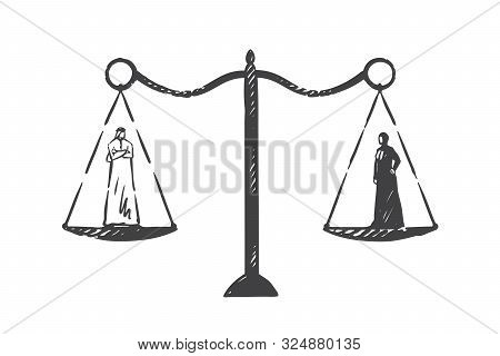 Muslim World Gender Equality Concept Sketch. Arab Man And Woman On Scales Having Equal Weight, Arabi