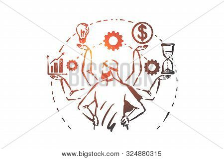 Multitasking, Time Management Concept Sketch. Many Armed Arab Businessman Controlling Company Financ