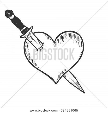 Heart Symbol Pierced With Knife Dagger Weapon Sketch Engraving Vector Illustration. Romantic Love Lo