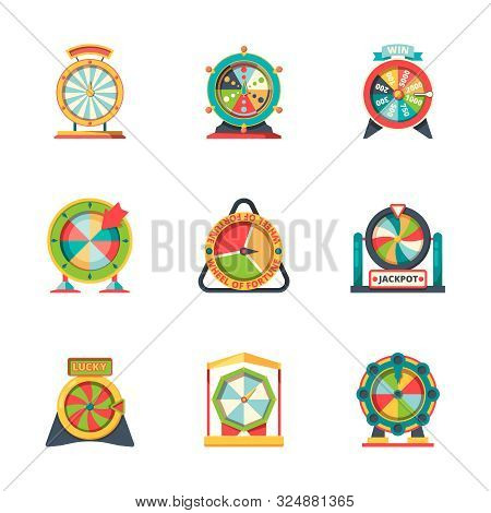 Wheel Fortune. Lucky Circle Symbols Roulette Casino Gambling Game Vector Fortune Icons Flat Style. J