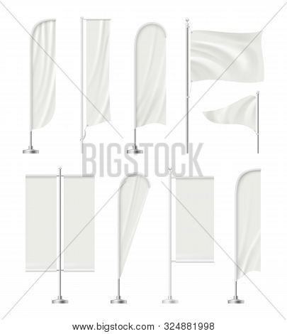 Blank Beach Flag. Outdoor Empty Stands For Advertizing Promotion Messages Textile Flags Vector Reali