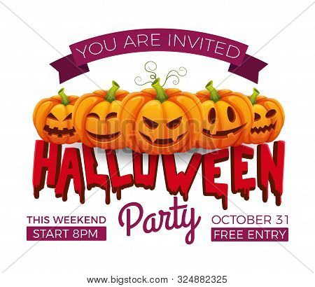 Halloween Banner. 31 October Party Invitation Vector Template. Halloween Pumpkins With Funny And Sca