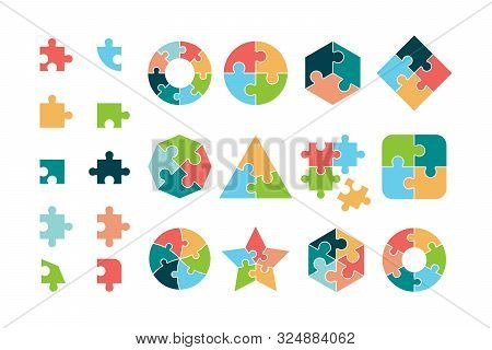 Puzzle Collection. Business Different Jigsaw Round And Square Geometrical Forms Tags Puzzle Pieces V