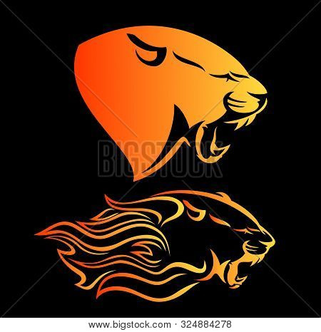 Fierce Panther Head Among Fire Flames - Blazing Leopard Vector Profile Design