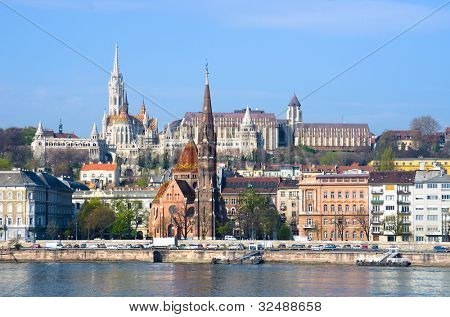 view of landmarks on the hills of Buda in Budapest