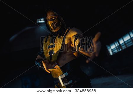 Dnipro, Ukraine - September 29, 2019: Cosplayer Portrays Scorpion From The Video Game
