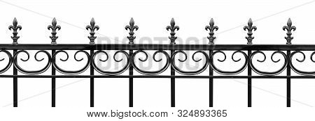 Black Wrought Iron Front Garden. Metal Fence Made Of Forged Steel. Close Up. Isolated On White Backg